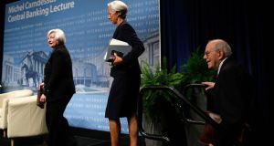 US Federal Reserve Chair Janet Yellen (l), International Monetary Fund (IMF) Managing Director Christine Lagarde, and former IMF Director Michel Camdessus walk onstage before their remarks at the inaugural Michel Camdessus Central Banking lecture in Washington today. Photograph: Gary Cameron/Reuters