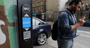 The NFC interactive scan at a bus shelter off Pearse street, Dublin. Photograph: Eric Luke