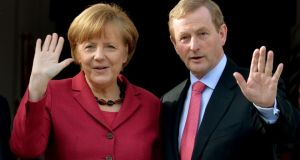 German chancellor Angela Merkel and Taoiseach Enda Kenny meeting earlier this year. They will meet again today.  Photograph: David Sleator