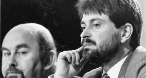 Stages in a career: Ruairí Quinn with Brendan Howlin at a Labour party conference in 1987