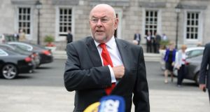 Minister for Education Ruairí Quinn TD announcing he will resign from Cabinet. Photograph:  Dara Mac Dónaill