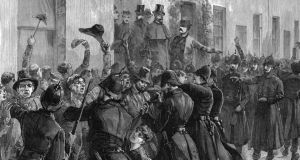 A print from depicting the scene outside the National Rent Office after the arrest of O'Brien: The jailing of O'Brien in Kilmainham, along with Parnell and other leaders of the Land League, did not prevent the appearance of 'United Ireland'. Photograph: The Print Collector/Print Collector/Getty Images)