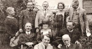 Music lovers (1929): Tilly Fleischmann (centre) with Daniel Corkery (left) and Fr Pat Macswiney (right); (first row, l-r) Sean O'Faolain, Professor Stockley; (back row, l-r) Germaine Stockley, Aloys Fleischmann, Hans Marcus, Clare Engelmann and Dr Heider.