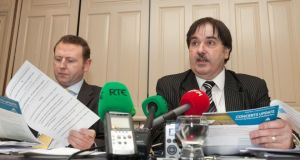 Solicitor Anthony Fay and  Eamon O'Brien at a Croke Park Streets Committees Association Ltd & Croke Park Community & Handball Centre press conference in relation to the Garth Brooks concerts. Photograph:  Collins