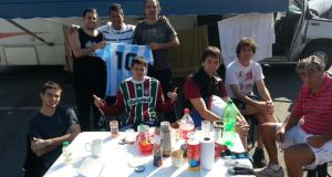 Table manners: showing the colours on the road in support of former World Cup winners Argentina