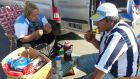 Pit stop: fans pull in for breakfast during the odyssey that is supporting Argentina in the World Cup