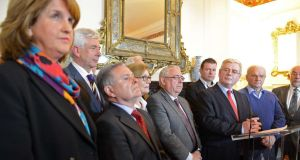 'We don't like losing elections and in Eamon Gilmore's departure we have lost not just a friend and leader but a man who, with his team, put Ireland first. Today we elect a new leader. In Joan Burton and Alex White we have two fine candidates.' Above,  Tánaiste and Minister for Foreign Affairs, Eamon Gilmore speaking on his resignation as Labour Party leader. Photograph: Eric Luke / The Irish Times