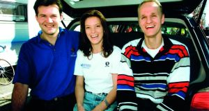 Emma O'Reilly in happier times with Chris and Sip from the Rabobank team