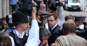 Former News of the World editor Andy Coulson has been jailed for 18 months after being found guilty of conspiring to hack phones following an eight-month trial. Photograph: Neil Hall/Reuters.