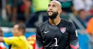 USA goalkeeper Tim Howard: The positive aspect of Tourette's is that a lot of people with the condition have unusually swift reactions. Photograph: EPA/Guillaume Horcajuelo