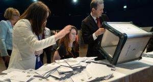 Ballot boxes in the Labour Party leadership election are opened at the Mansion House today. Photograph: Cyril Byrne/The Irish Times
