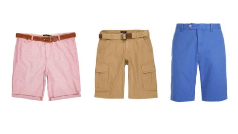 Red plaited belt turn up shorts, €35, River Island Belted Cargo Shorts in Beige, €110, GANT Blue Chino Shorts, €100, Hackett