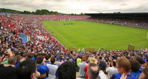 Cork v Tipperary in 2008: Fans look on as both teams line-up. Photograph: Inpho