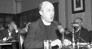 Fr John R Corridan testifying in 1953 before a US Senate committee investigating waterfront crime. Photograph: AP