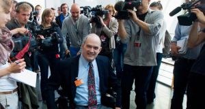 Former technical director of the US National Security Agency William Binney arriving for a parliamentary inquiry in Berlin  into the NSA's activities. Photograph: Thomas Peter/Reuters