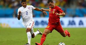 USA's DeAndre Yedlin gives chase as Belgium's Eden Hazard closes in on goal during their last-16 game. His coach, Marc Wilmots, will be looking for some inspiration from the Chelsea midfielder.