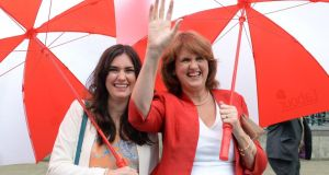 Tánaiste Joan Burton with her daughter Aoife Carroll after the Labour leadership election count at the Mansion House yesterday. Photograph: Cyril Byrne