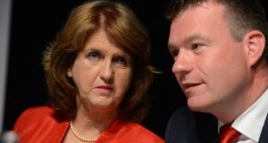 Joan Burton with her new deputy leader, Alan Kelly. Photograph: Cyril Byrne
