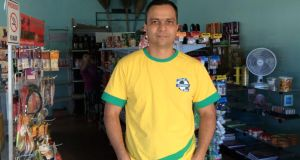 Josiel Vieira Santos in his corner shop.