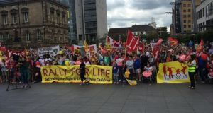 Thousands gathered in city centre Belfast today for the Rally for Life demonstration. Photograph: Gerry Moriarty