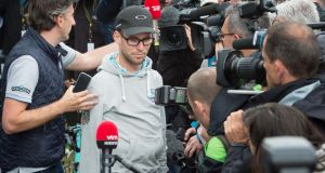 Mark Cavendish speaks to the press after it was confirmed  he will miss the rest of the Tour de France  following the shoulder injury he suffered on the first stage in Harrogate on Saturday. Photograph: Tim Ireland/PA