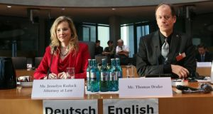 Jesselyn Radack, former US Justice Department ethics attorney turned whistleblower and Thomas Drake, former senior executive of the NSA turned whistleblower testifying at the Bundestag commission investigating the role of the NSA in Germany on Friday in Berlin. Photograph: Adam Berry/Getty Images