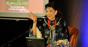 Author Jung Chang talking to Peter Florence about 'Empress Dowager Cixi: The Concubine who launched modern China' at the Hay Festival Kells, Co Meath. Photograph: Clodagh Kilcoyne
