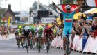 Astana Procycling team rider Vincenzo Nibali celebrates after winning the second stage of the Tour de France  between York and Sheffield. Photograph: Kim Ludbrook/EPA