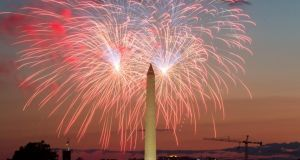 Independence Day fireworks explode over the Washington monument in Washington, DC. Photograph: EPA/Allison Shelley