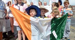 Alex Harris (3, left) and Billy Reid (4) from Ballybough with local residents protesting against the cancellation of any of the Garth Brooks Croke Park concerts. Photograph: Eric Luke / The Irish Times
