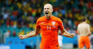 Arjen Robben celebrates after the Netherlands penalty shootout win against Costa Rica, which set up a semi-final against Argentina. Photograph: Sergio Moraes/Reuters