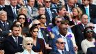 Victoria Beckham and Samuel L Jackson: Wimbledon buddies. Photograph:  Matthew Stockman/Getty Images