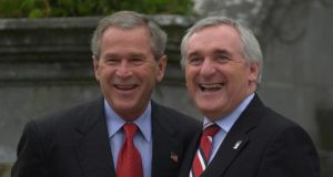 Former US president George W Bush with then taoiseach Bertie Ahern in Co Clare in 2004. Photograph: Bryan O'Brien