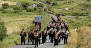Marchers take part in the annual Rossnowlagh Orange parade in Co Donegal on Saturday. Photograph: Kelvin Boyes/Press Eye.