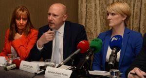 Businesses call for solution to Garth Brooks concert, from left; Gina Quin, Dublin Chamber of Commerce. Donal O'Keeffe, Licenced Vintners Association and Senator Averil Power. Photograph; Dara Mac Dónaill / The Irish Times