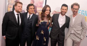 James Corden, Keira Knightley, Mark Ruffalo, Adam Levine and John Carney at the New York premiere of  Begin Again. Photograph: Stephen Lovekin/Getty Images