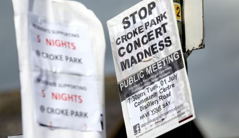 Posters for (left) and against (right) the string of consecutive Garth Brooks shows at Croke Park.  Photograph: Ryan Byrne/Inpho