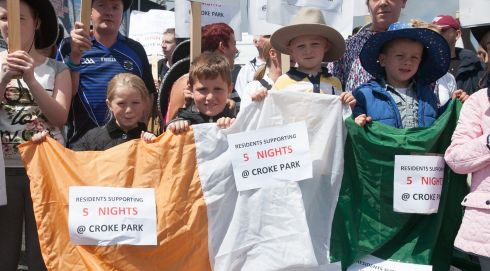Left to right, Ballybough residents Ellie Fay (7), Cillian Gavin (9), Billy Reid (4) and Alex Harris (3) campaigning for all five Garth Brooks concerts in Croke Park in July 2014 to go ahead. Photogragh: Gareth Chaney/Collins