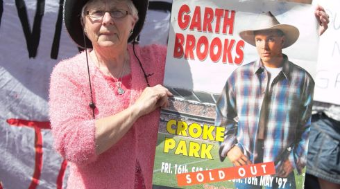 Flashback: Ballybough resident Maire Gorman, who saw Garth Brooks live at Croke Park  in 1997, campaigning for all five of the concerts in July 2014 to take place. Photogragh: Gareth Chaney/Collins