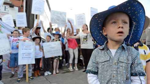 Alex Harris (3) , Ballybough, gets into the spirit of Garth. Photograph:  Eric Luke/The Irish Times