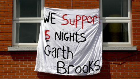 Croke Park residents protest in support of the five shows. Photograph: Ryan Byrne/Inpho
