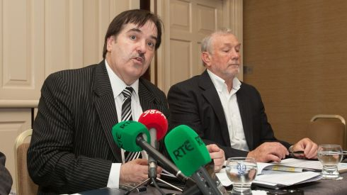 Chairman of the Croke Park Streets Committee, Eamon O'Brien, and Fintan Farrelly, committee member, during a press conference by the Croke Park Streets Committees Association Ltd and Croke Park Community & Handball Centre taking a stance against the string of Garth Brooks concerts at Buswell's Hotel, Dublin. Photograph: Gareth Chaney/Collins