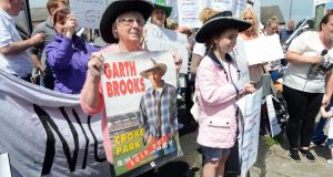 Ballybough residents   protesting against the cancellation of any of the Garth Brooks Croke Park last week. Photograph: Eric Luke/The Irish Times.