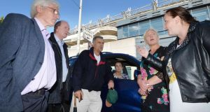 William Spense, Nial Ring, a councillor, and Peter Branigan, who opposed the shows, and Sandra Reid and Susan Mangan, in favour, exchange views outside Croke Park yesterday. Photograph: Alan Betson