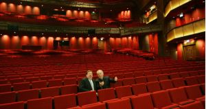 The then taoiseach Brian Cowen tours the Grand Canal Theatre with Harry Crosbie ahead of its opening in March 2010. Photograph: Bryan O'Brien/The Irish Times