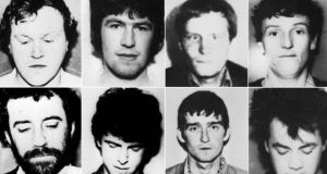 Undated handout photos of the eight-man IRA unit killed in a shoot out with SAS soldiers following the bombing of the Loughgall RUC station, County Armagh, in May 1987, (clockwise from top left) Gerard O'Callaghan, 29, Antony Gormley, 25, James Lynagh, 32, Eugene Kelly, 25, Declan Arthurs, 21, Patrick McKerney, 32, Seamus Donnelly, 21 and Patrick Kelly, 25. Photograph: PA Wire