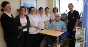 Tom Kenny during one of his chemo sessions in UCHG with nurses Sheila Hurley, Nicola Crowe, Claire Davey, Annmarie Bohan, Niamh Morrisey, Ann Wilson and Christina Farrell. Photograph: Karen Golden