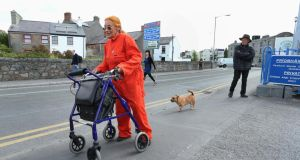 Peace activist Margaretta D'Arcy arriving at Mill Street Garda station in Galway today.  Photograph: Joe O'Shaughnessy