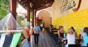 Cafe de las Sonrisas (Cafe of Smiles) in central Granada, Nicaragua. Photograph: Deirdre Veldon