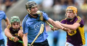 Dublin's Donal Gormley  is put under pressure by Wexford's Conor Devitt (left) and Rhys Clarke at Parnell Park, Dublin, during the Leinster Under-21 hurling final. Photograph: Sportsfile